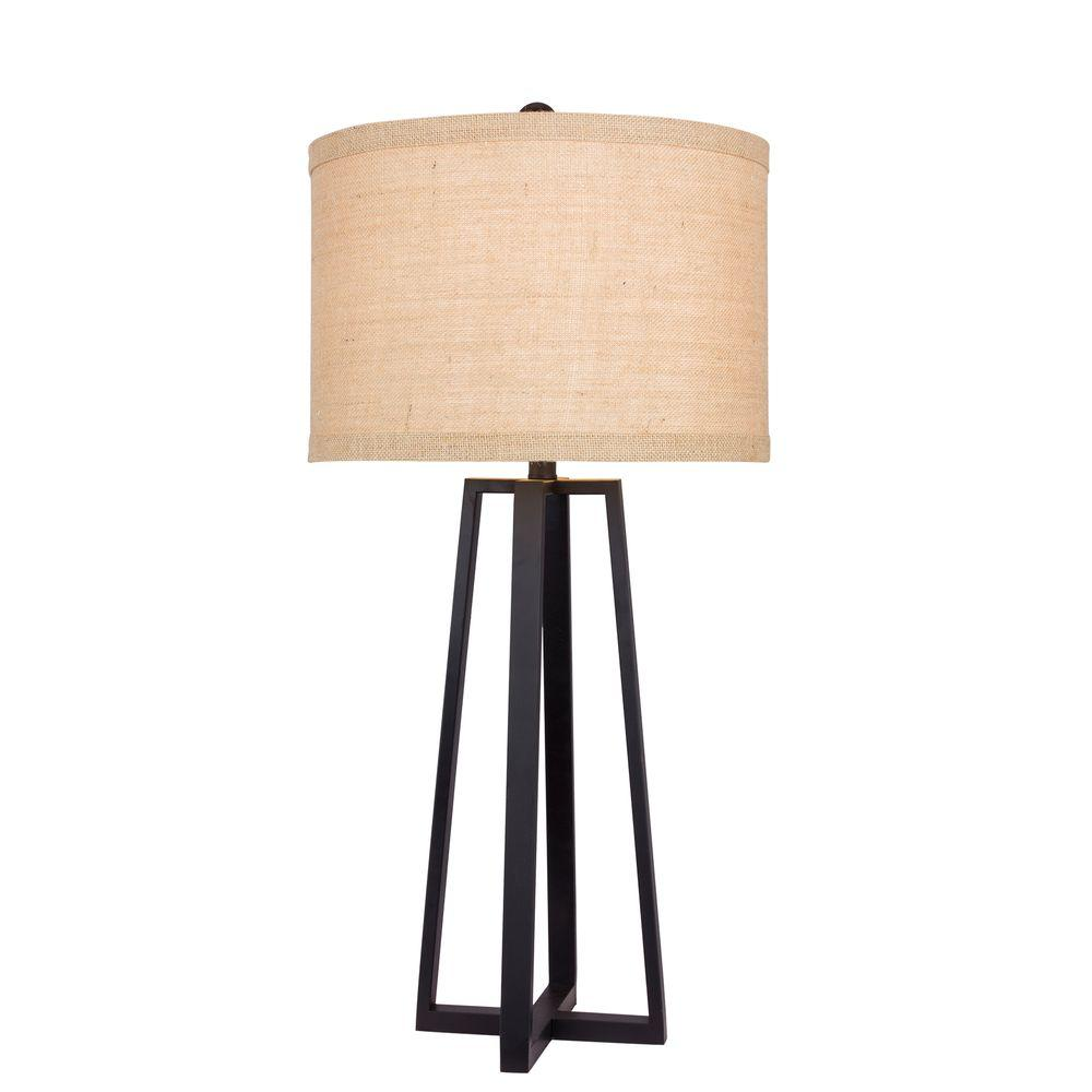 33 in. Black Molded Metal Table Lamp