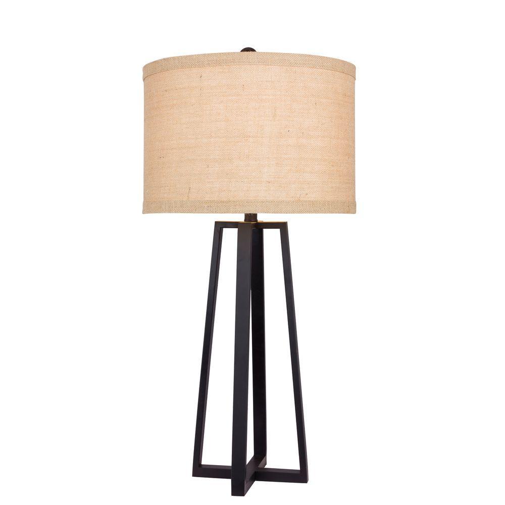 33 in. Black Molded Metal Table Lamp