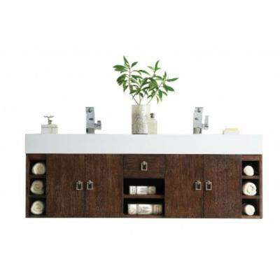 Tiburon 59 in. W Double Vanity in Coffee Oak with Solid Surface Vanity Top in White with White Basin