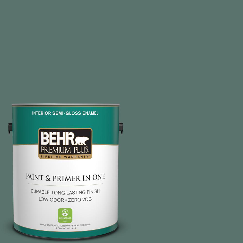 1 gal. #PPU12-17 Cameroon Green Zero VOC Semi-Gloss Enamel Interior Paint