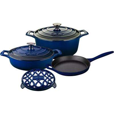 PRO 6-Piece Enameled Cast Iron Cookware Set with Saute, Skillet and Round Casserole with Trivet in Blue
