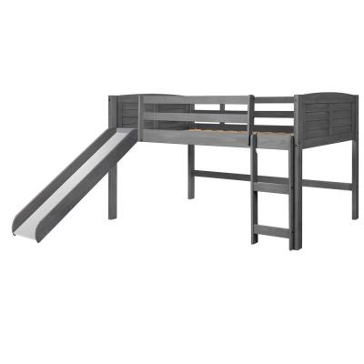 Antique Grey Twin Louver Low Loft Bed with Slide