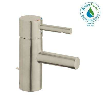 Essence New Single Hole Single-Handle 1.2 GPM Low-Arc Bathroom Faucet in Brushed Nickel Infinity Finish