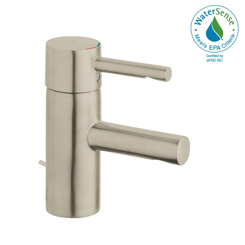 GROHE Essence New Single Hole Single-Handle 1.2 GPM Low-Arc Bathroom Faucet  in Brushed Nickel Infinity Finish