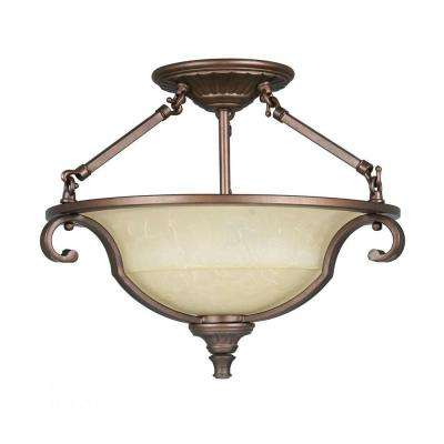 Fairview 2-Light Heritage Bronze Semi-Flush Mount Light