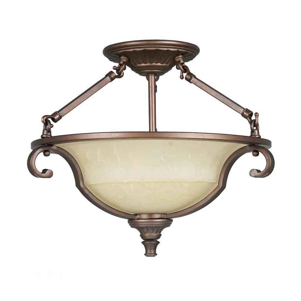 Fairview 2-Light Heritage Bronze Semi-Flush Mount Light
