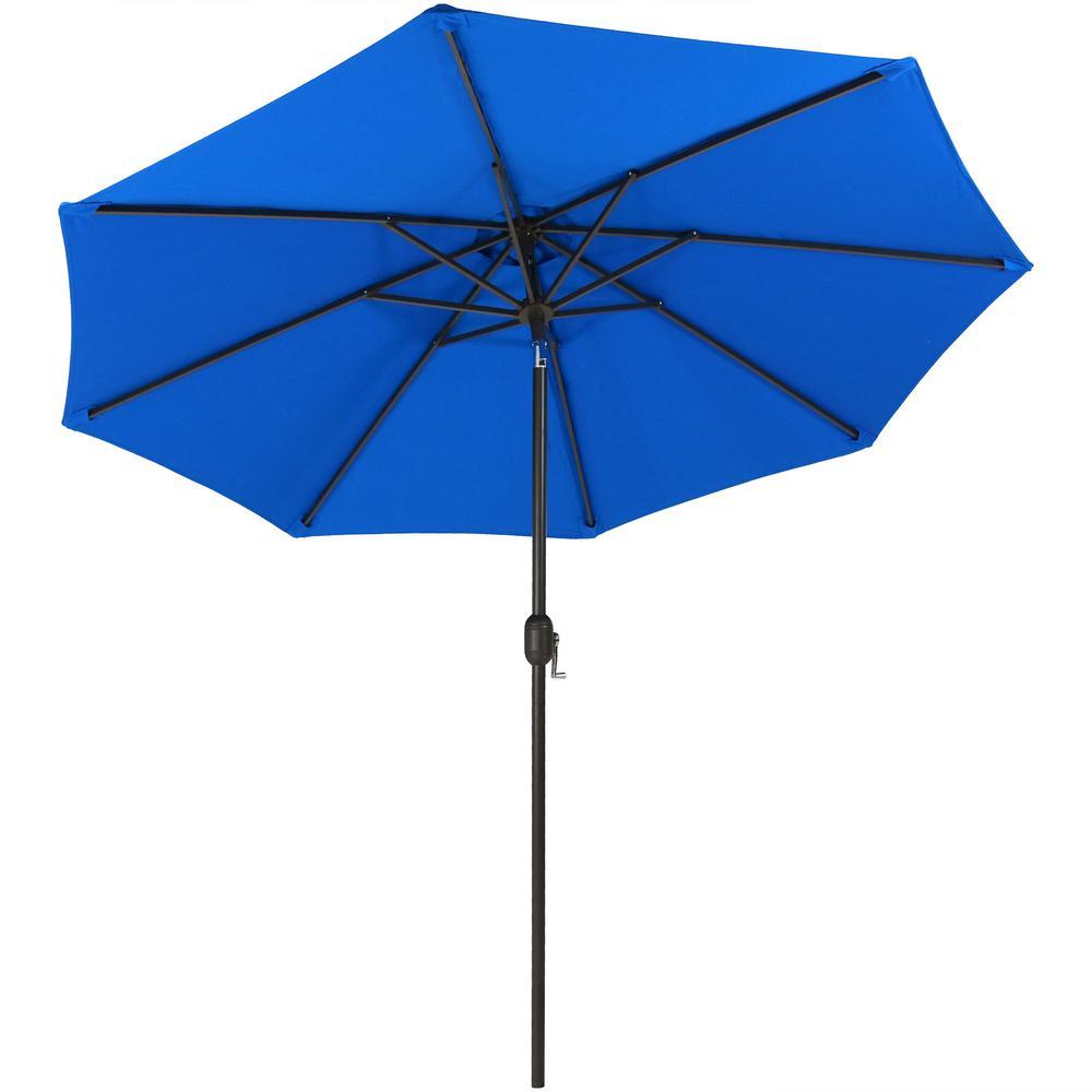 9 ft. Aluminum Market Auto Tilt Patio Umbrella in Sunbrella Pacific Blue