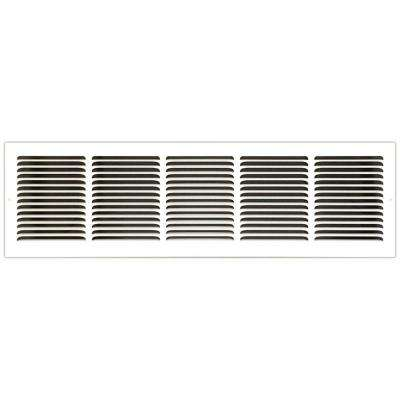 30 in. x 8 in. Base Board Return Air Vent Grille with Fixed Blades, White