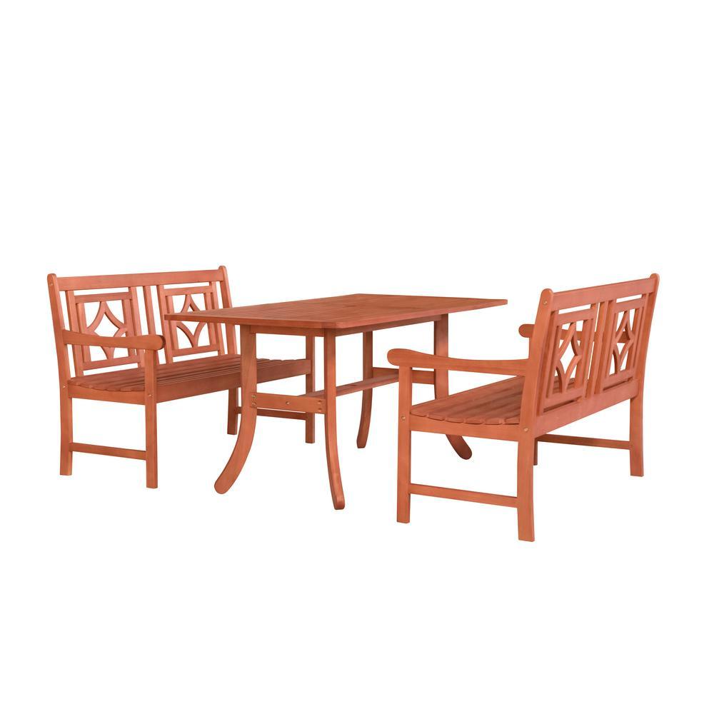 Vifah Malibu 3 pc Wood Outdoor Dining Set