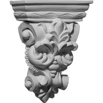 6-1/4 in. x 2-7/8 in. x 8-1/4 in. Primed Polyurethane Leaf Bunch Corbel