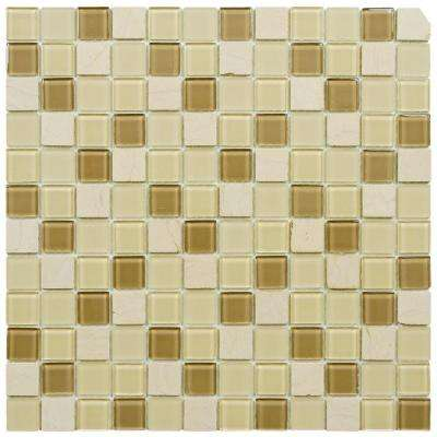Spectrum Square Olea 11-3/4 in. x 11-3/4 in. x 4 mm Glass and Stone Mosaic Tile