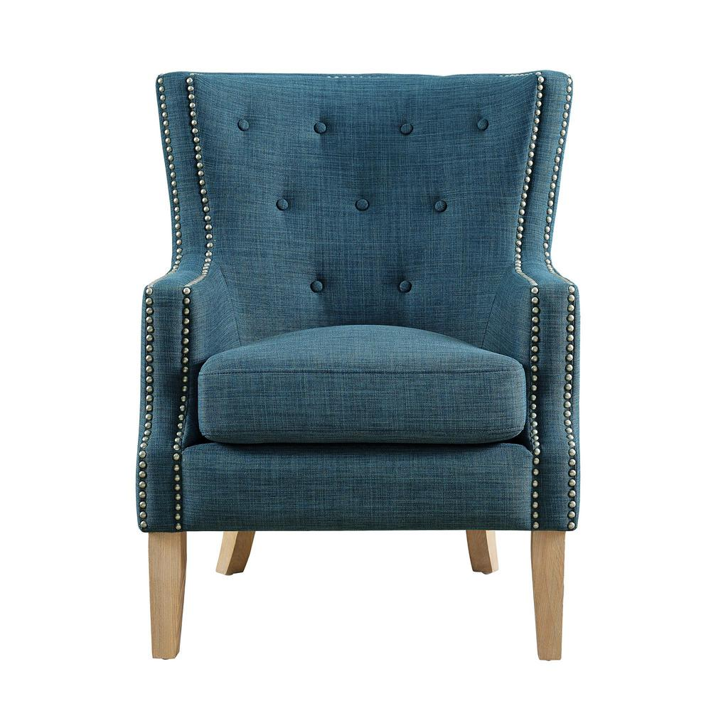 Dorel Living Fanny Blue Upholstered Accent Chair Fh7900 Bl