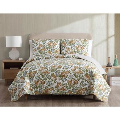MHF Home Janice Reversible Gold Floral King Quilt Set,