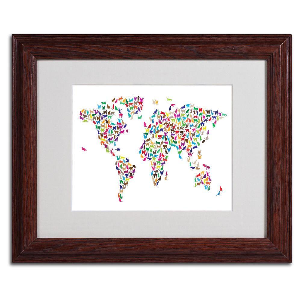 Trademark Fine Art 11 in. x 14 in. Cats World Map Matted Framed Art