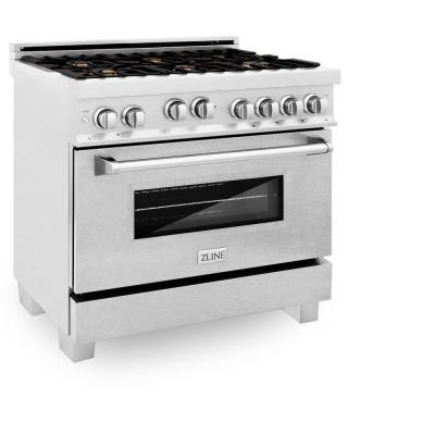 ZLINE 36 in. Professional 4.6 cu. ft. 6 Gas on Gas Range in DuraSnow Stainless Steel with Brass Burners (RGS-SN-BR-36)