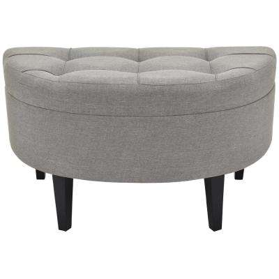19 in. Gray Tufted Bench