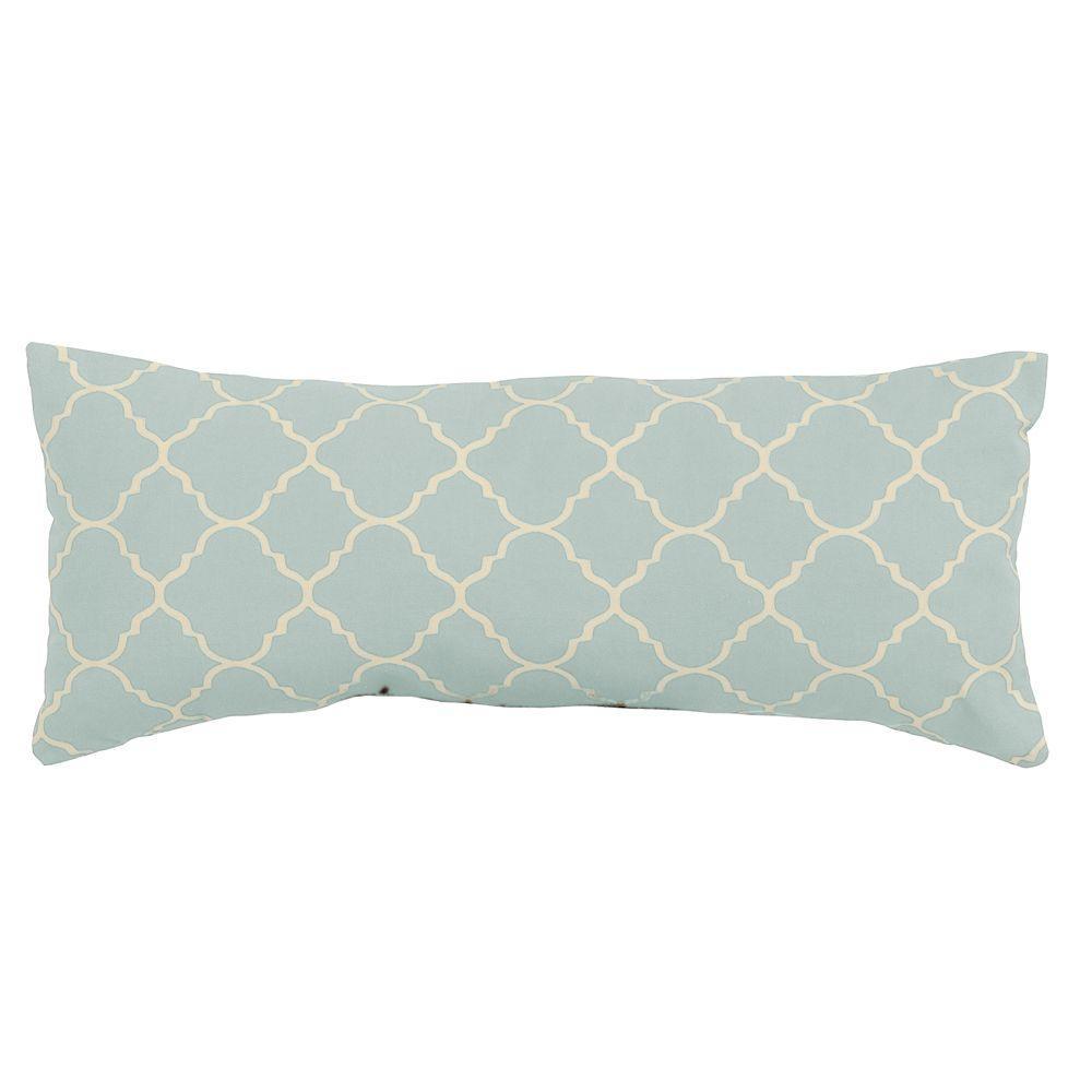 Pisa Blue 22 in. x 9 in. Outdoor Throw Pillow