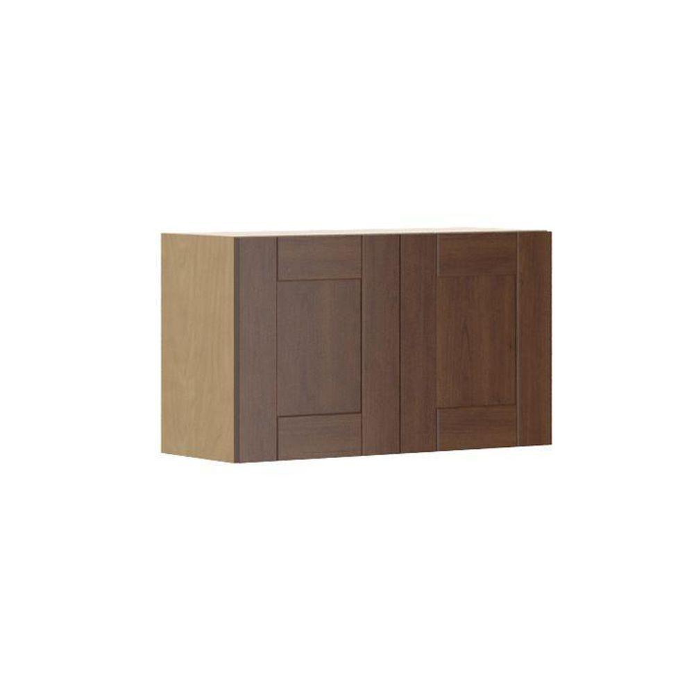 Ready to Assemble 30x18x12.5 in. Lyon Wall Bridge Cabinet in Maple
