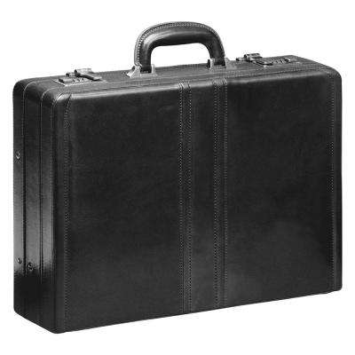 18 in. Luxurious Black Italian Leather Expandable Attache Case