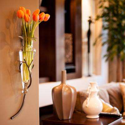 22 in. Glass Wall Mount Decorative Amphora Vase on Twig Metal Sconce in Clear Glass