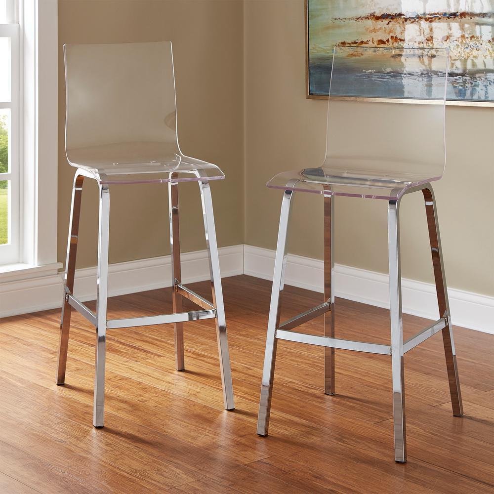 Incredible Homesullivan Penny 29 In Chrome Swivel Bar Stool Set Of 2 Inzonedesignstudio Interior Chair Design Inzonedesignstudiocom