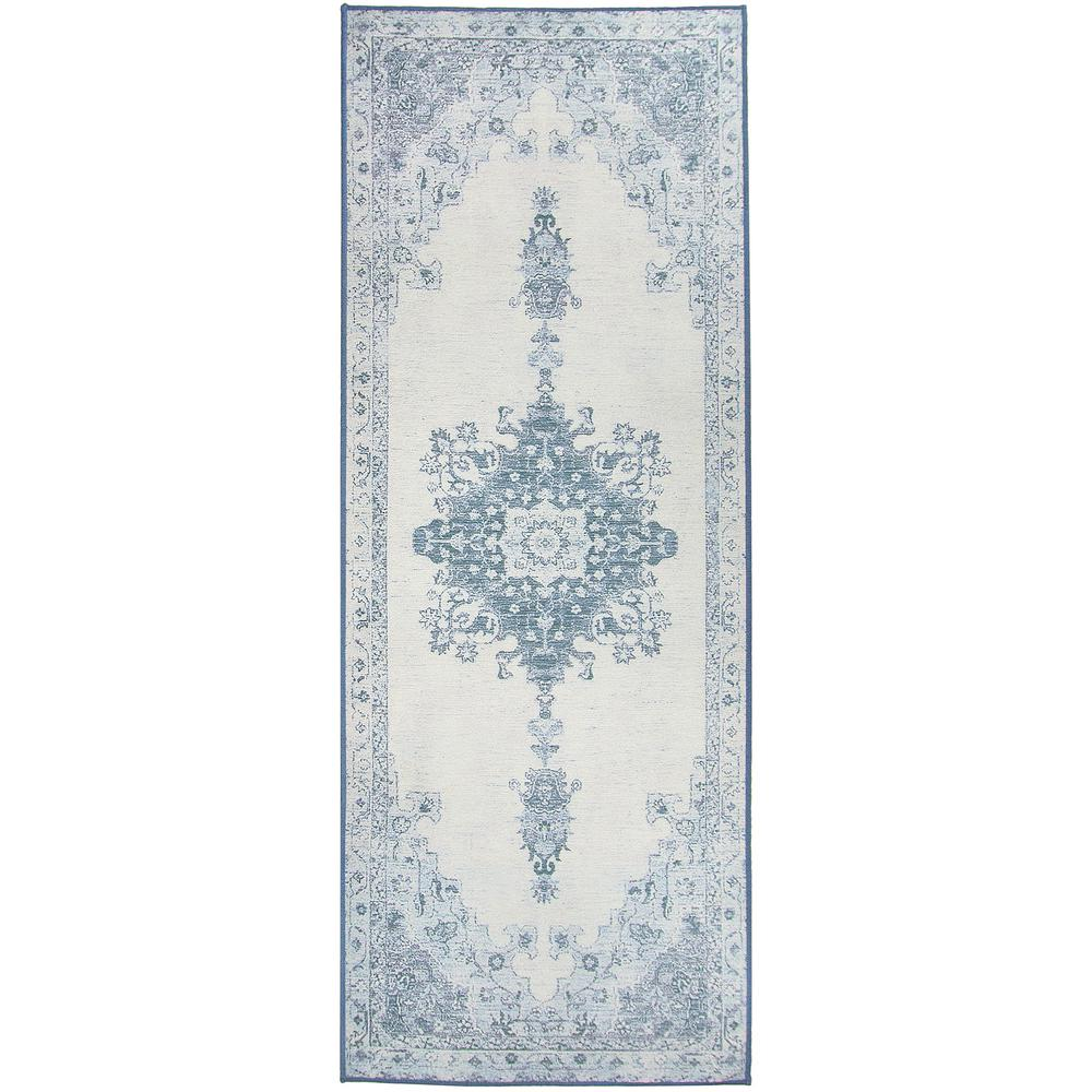 Ruggable Washable Parisa Blue 2 5 Ft X 7 Stain Resistant Runner Rug