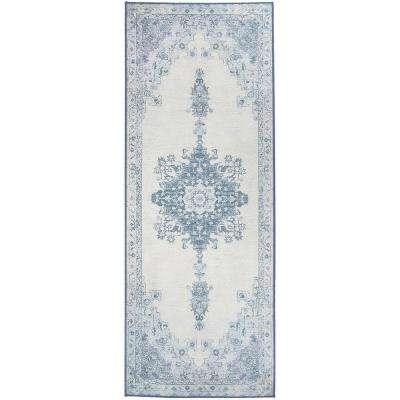 Washable Parisa Blue 2.5 ft. x 7 ft. Stain Resistant Runner Rug