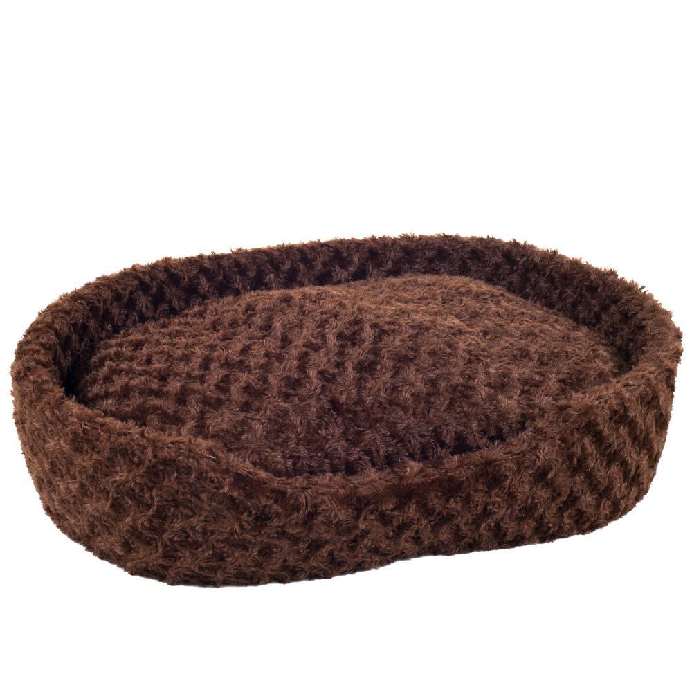 Extra-Large Brown Cuddle Round Plush Pet Bed
