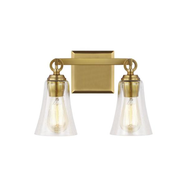 Monterro 13.5 in. W. 2-Light Burnished Brass Vanity Light with Clear Seeded Glass Shades