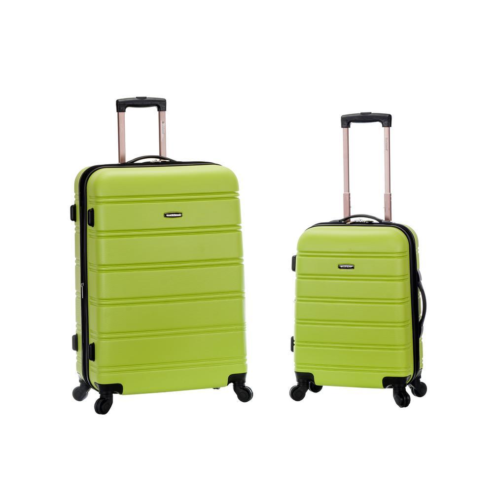 Rockland Melbourne Expandable 2-Piece Hardside Spinner Luggage Set, Lime