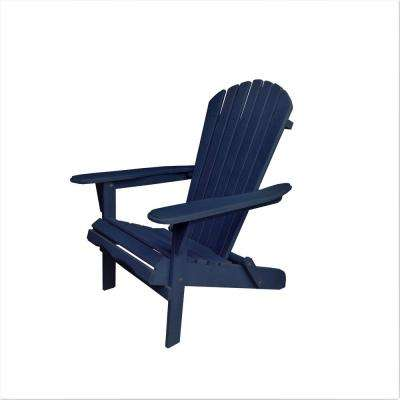 Villaret Navy Blue Folding Wood Adirondack Chair
