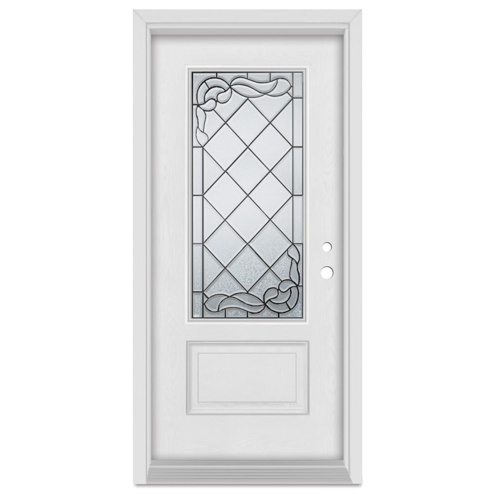 Stanley Doors 33.375 in. x 83 in. Art Deco Left-Hand 3/4 Lite Patina Finished Fiberglass Mahogany Woodgrain Prehung Front Door