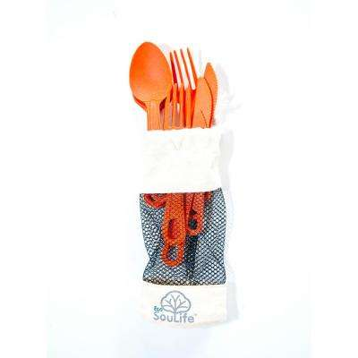 Bamboo 12-Piece Orange Cutlery (2-Pack)