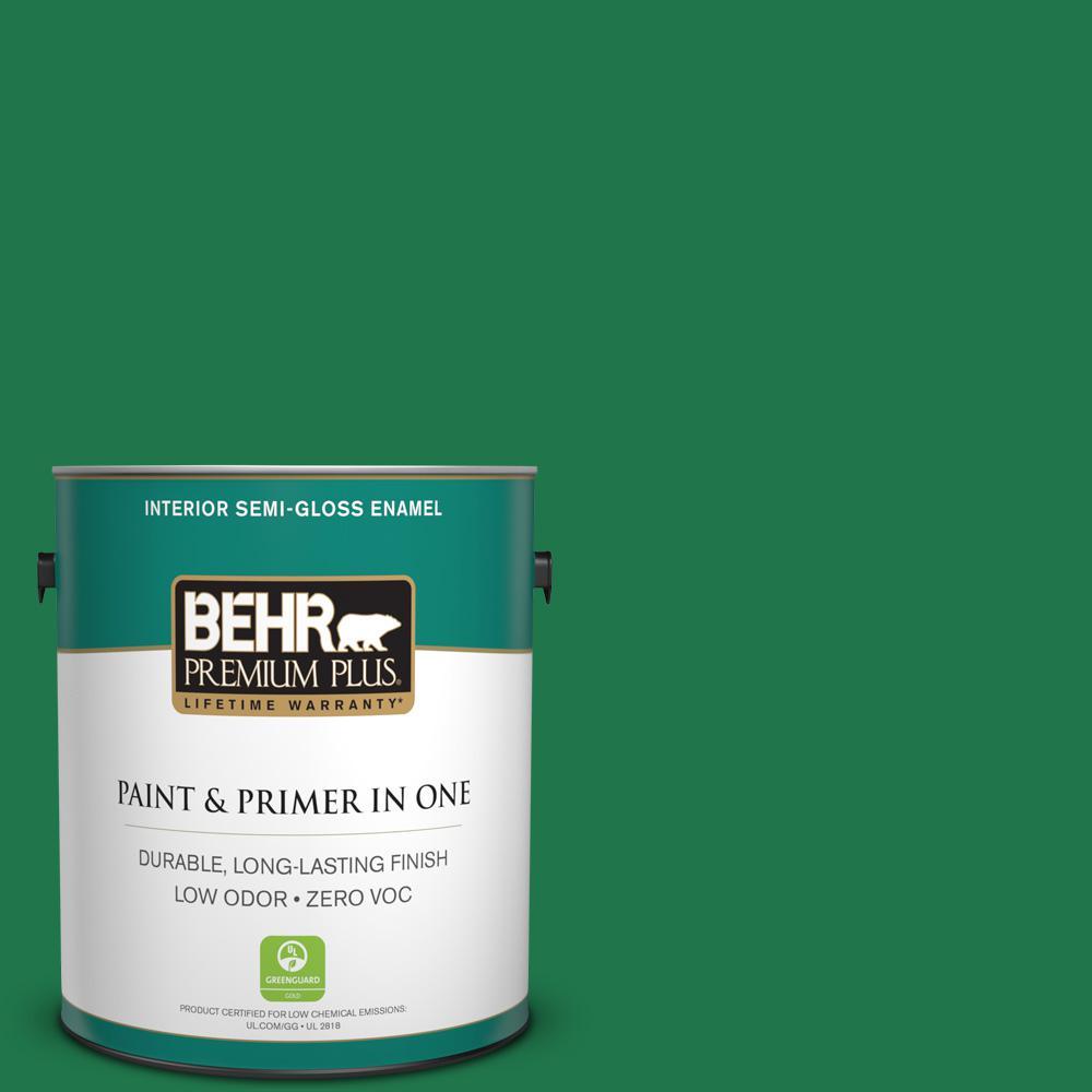 BEHR Premium Plus 1 gal. #460B-7 Pine Grove Semi-Gloss Enamel Zero VOC Interior Paint and Primer in One