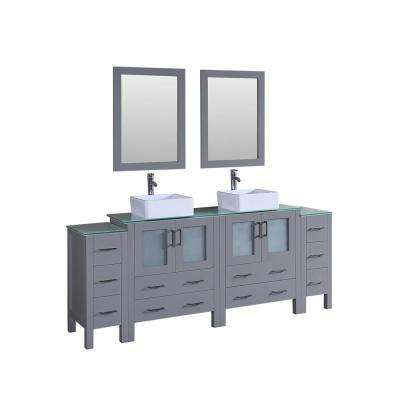 84 in. Double Vanity in Gray with Tempered Glass Vanity Top in Green with White Basin Polished Chrome Faucet and Mirror
