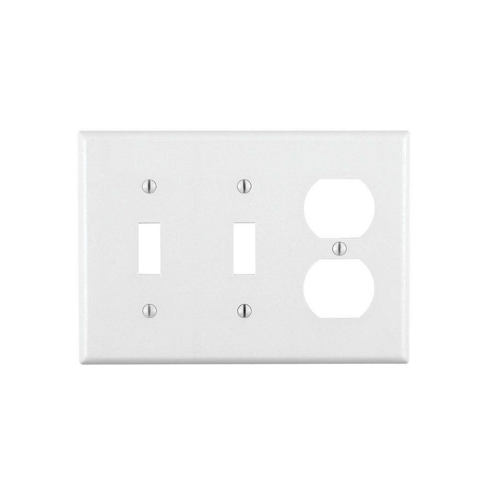 Combination 3-Gang Switch and Outlet Wall Plate, White