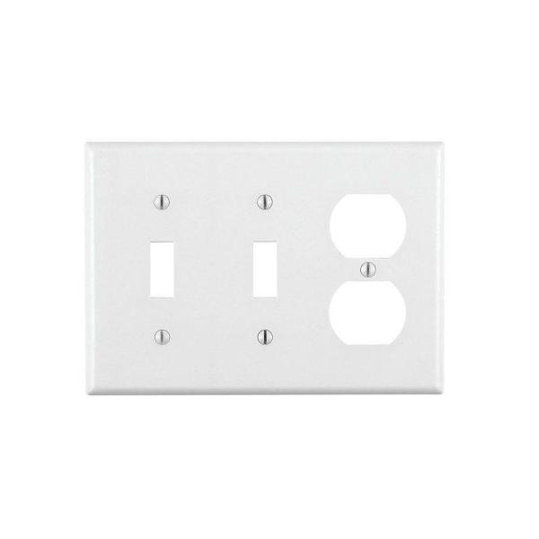 White 3-Gang 2-Toggle/1-Duplex Wall Plate (1-Pack)