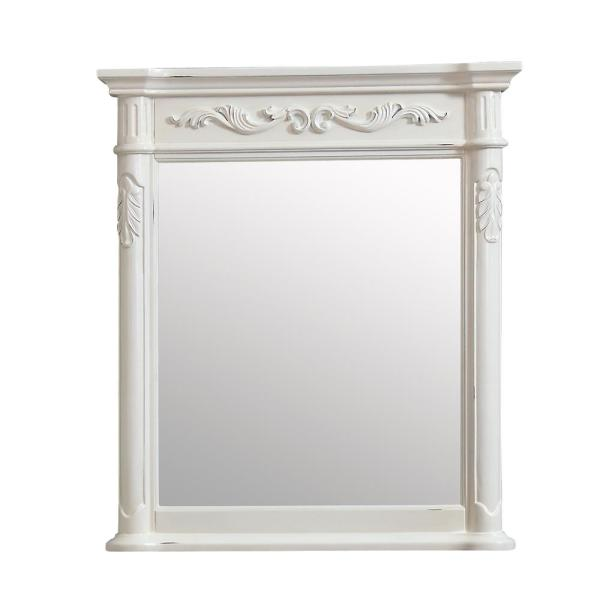 Provence 30 in. W x 34 in. H Framed Rectangular Bathroom Vanity Mirror in Antique White