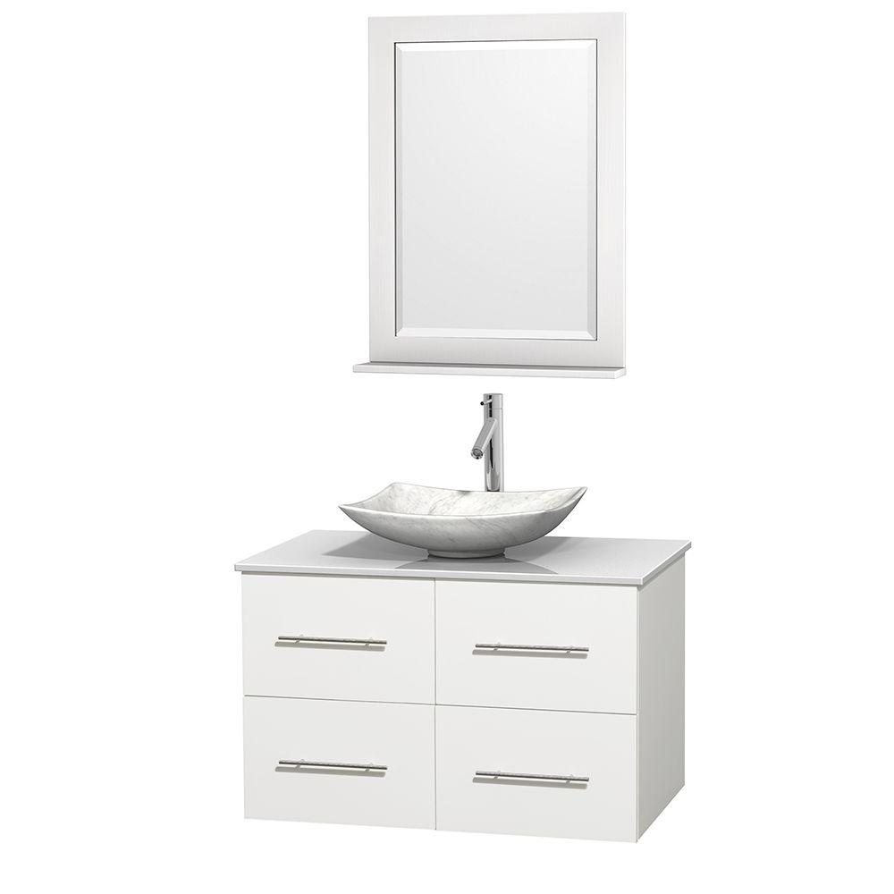 White Solid Surface : Wyndham collection centra in vanity white with