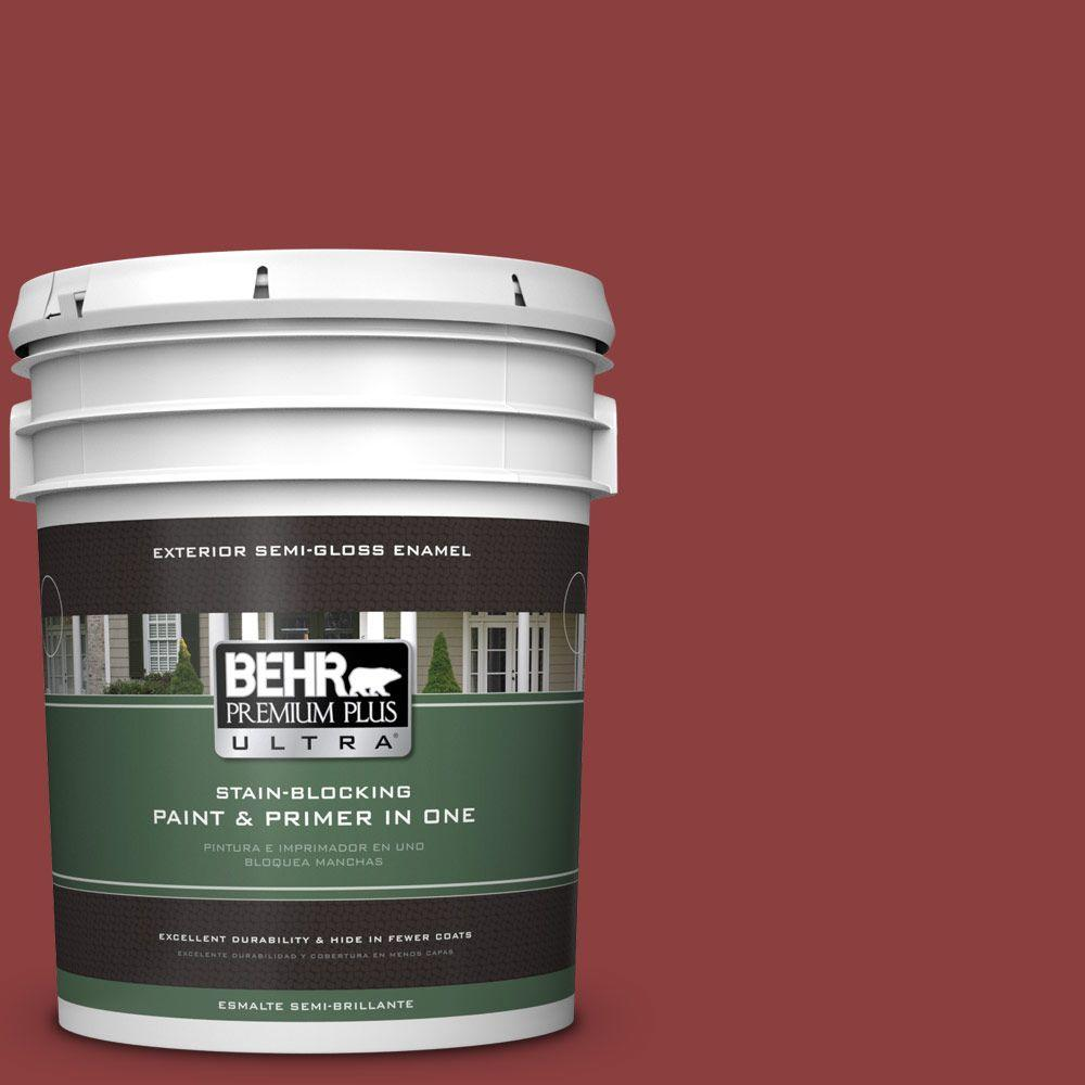 5-gal. #BXC-27 Carriage Red Semi-Gloss Enamel Exterior Paint