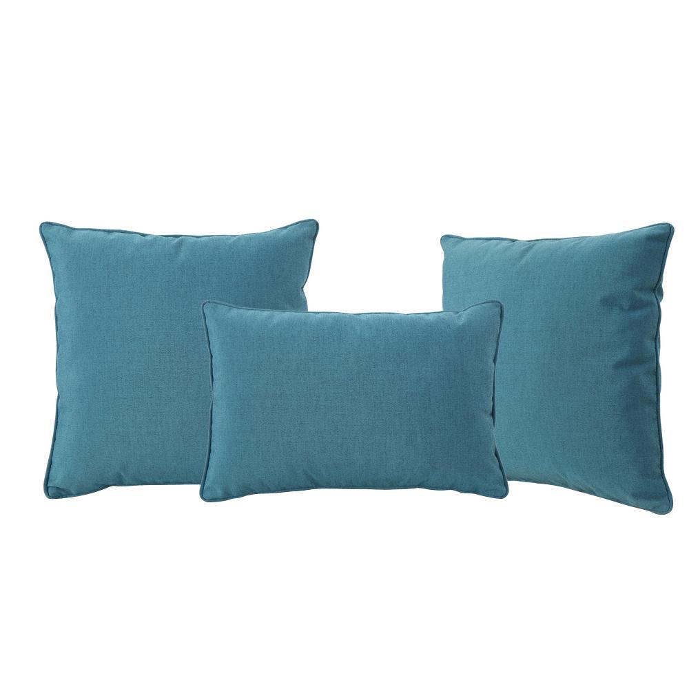Benjamin Teal Lumbar and Square Outdoor Throw Pillow (3-Pack)