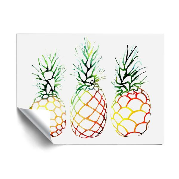 Retro Pineapples Contemporary Removable Wall Mural