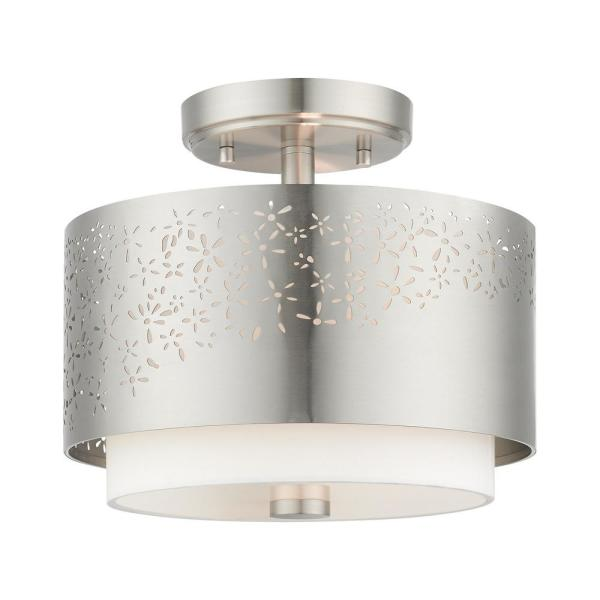 Noria 2 Light Brushed Nickel Semi Flush Mount