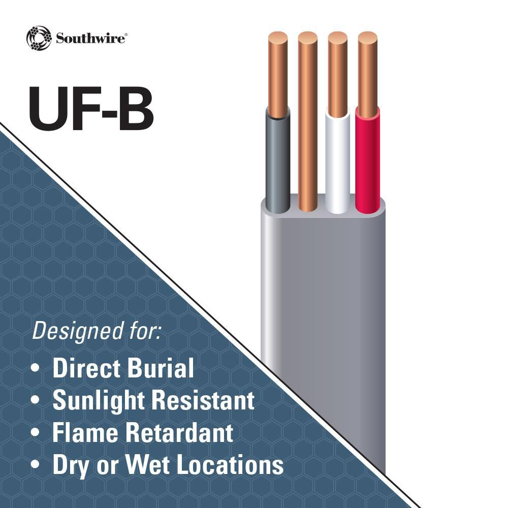 8//3 W//GR 25/' FT UF-B OUTDOOR DIRECT BURIAL//SUNLIGHT RESISTANT ELECTRICAL WIRE