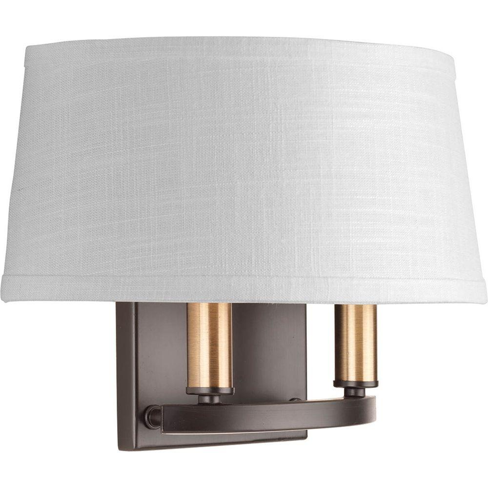 Progress Lighting Cherish Collection 2 Light Antique Bronze Wall Sconce With Linen Shade
