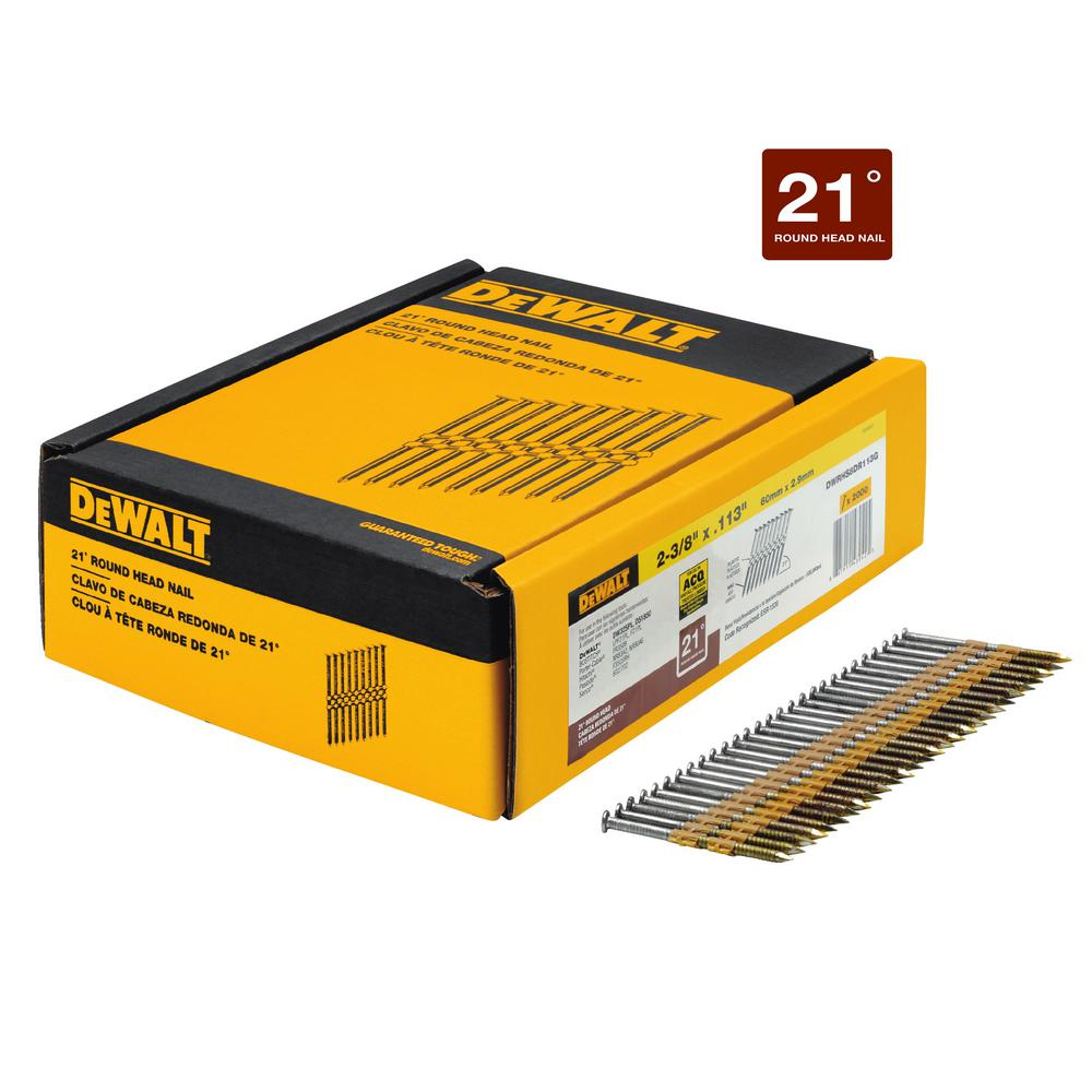 DEWALT 2-3/8 in. x 0.113 in. Ring Shank Galvanized Metal Framing ...