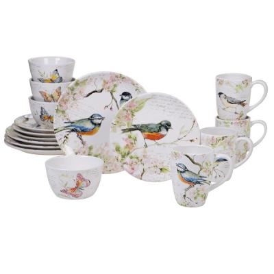 Spring Meadows 16-Piece Multi-Colored Dinnerware Set