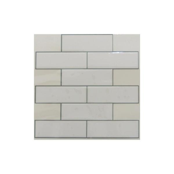 Incredible 10 5 In X 10 5 In White Subway Peel And Stick Tiles 4 Pack Home Interior And Landscaping Pimpapssignezvosmurscom