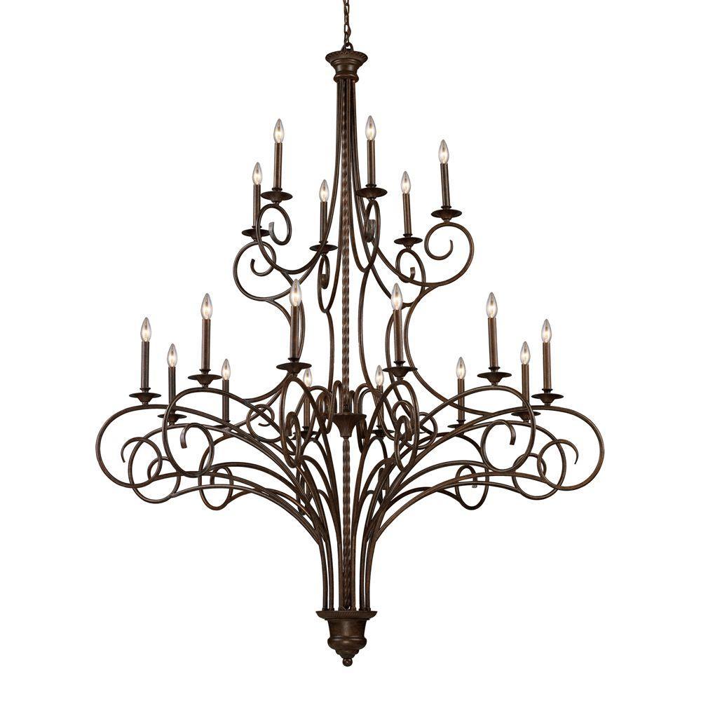 Titan Lighting Gloucester 18-Light Antique Bronze Ceiling Chandelier
