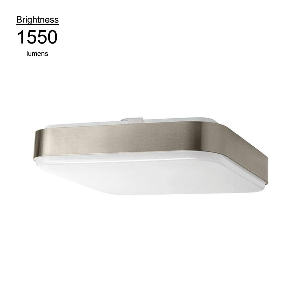 Hampton Bay 14 in. Brushed Nickel Bright White Square LED Flushmount Ceiling Light Fixture Dimmable